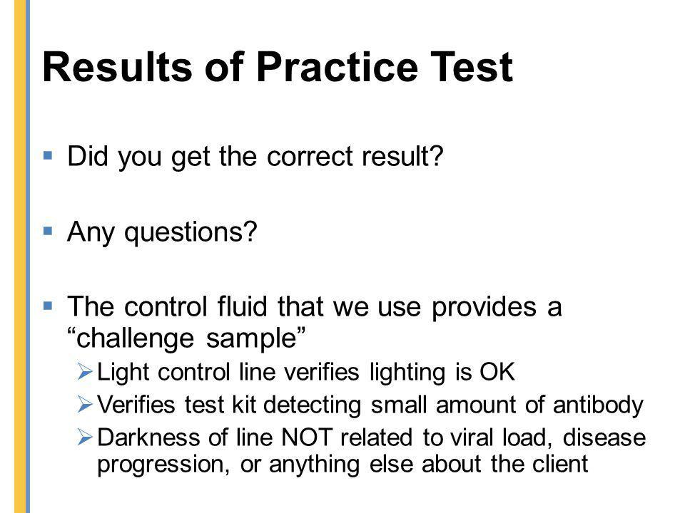 Results of Practice Test