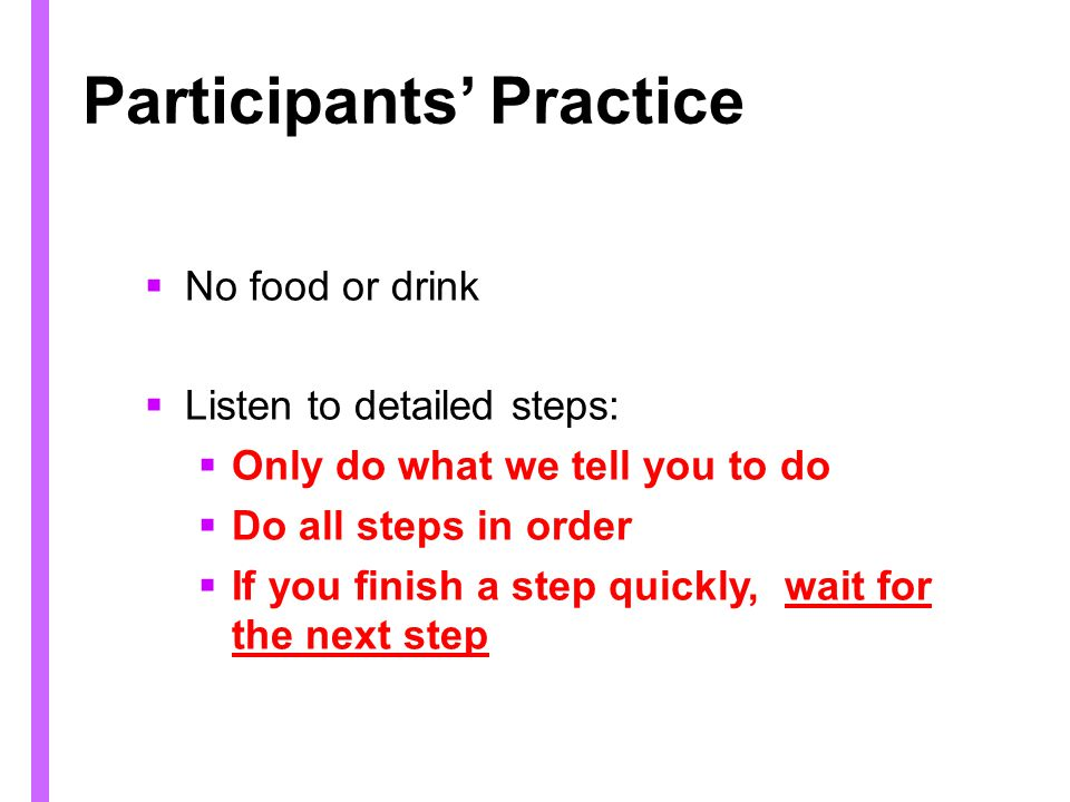 Participants' Practice