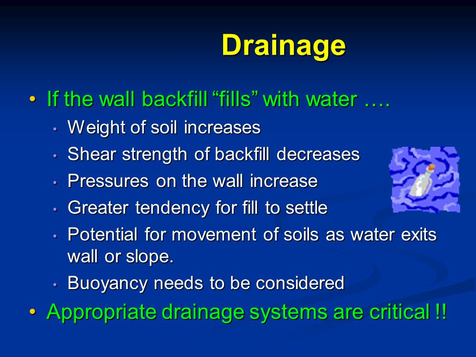 Drainage If the wall backfill fills with water ….