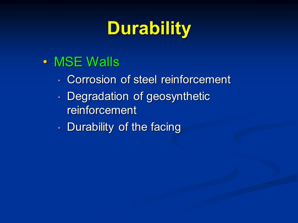 Durability MSE Walls Corrosion of steel reinforcement
