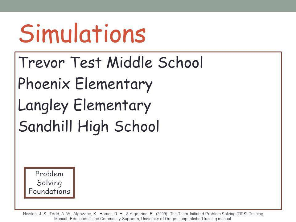 Simulations Trevor Test Middle School Phoenix Elementary Langley Elementary Sandhill High School Problem.
