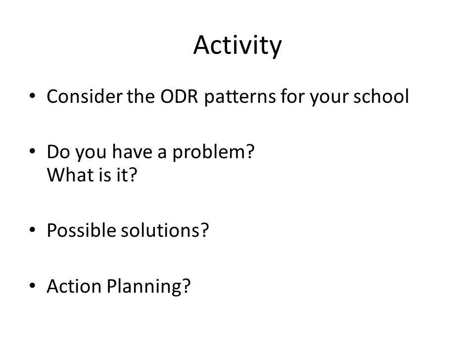 Activity Consider the ODR patterns for your school