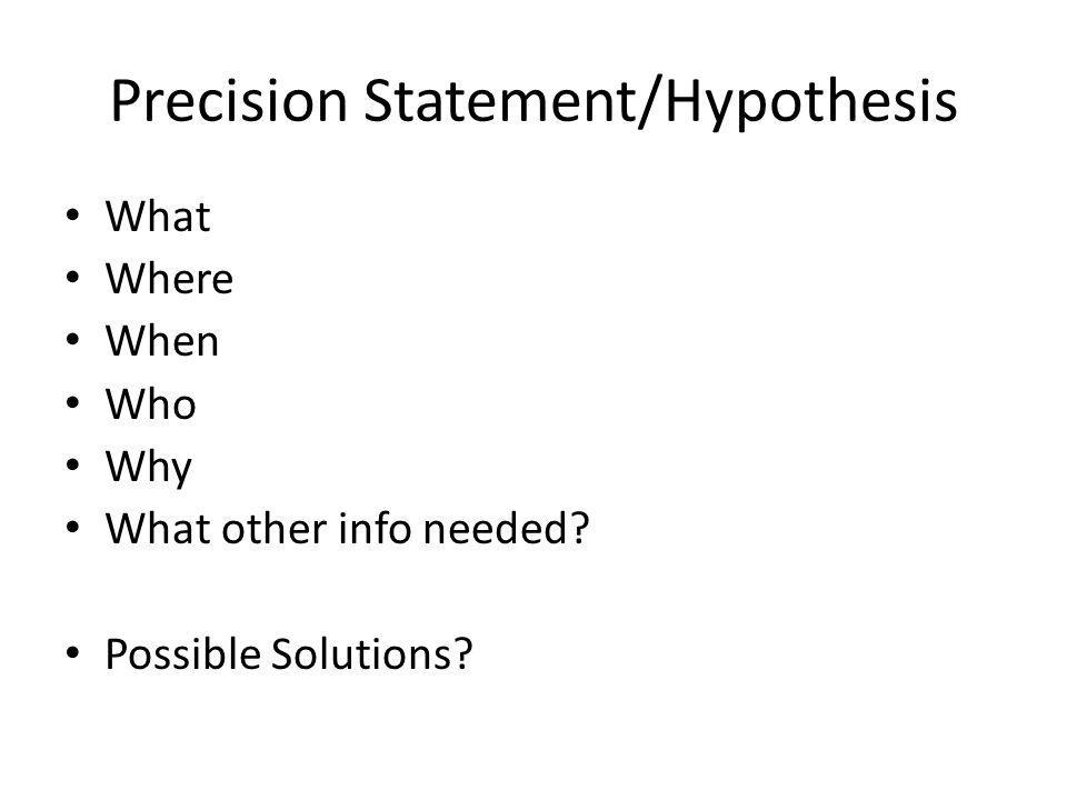Precision Statement/Hypothesis