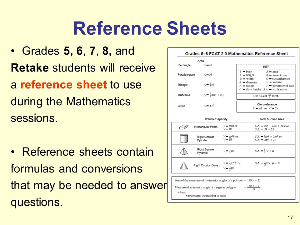 Reference Sheets Grades 5, 6, 7, 8, and Retake students will receive