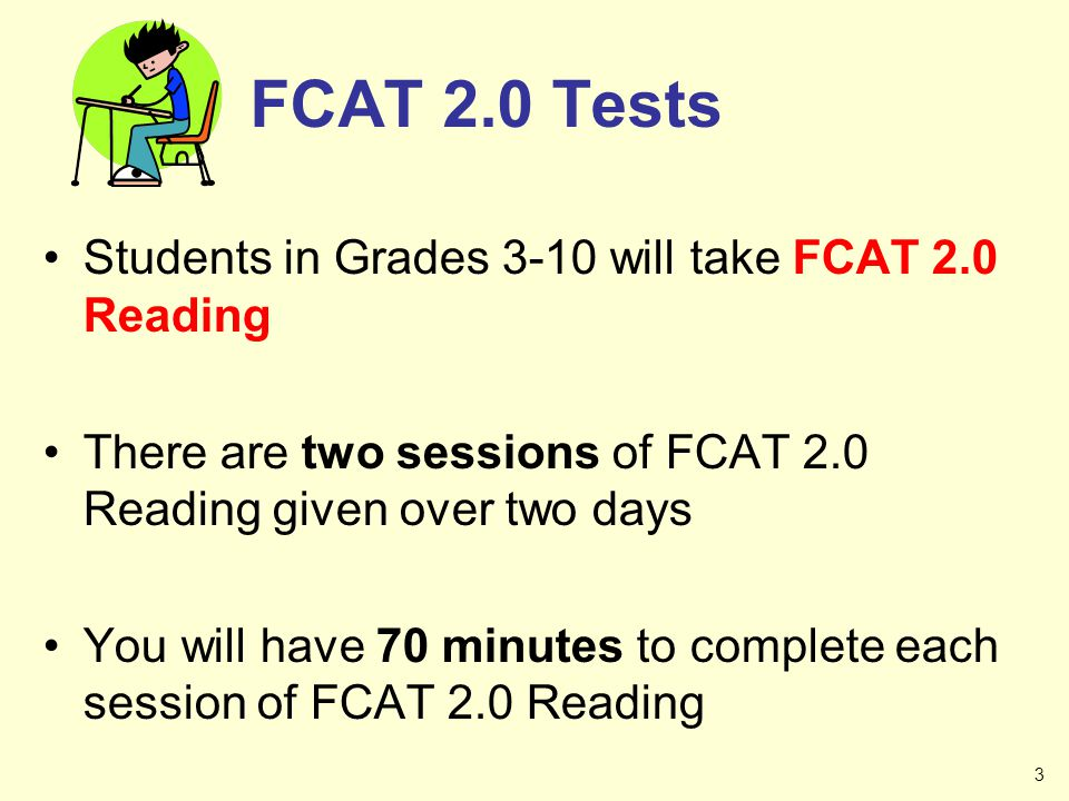 FCAT 2.0 Tests Students in Grades 3-10 will take FCAT 2.0 Reading