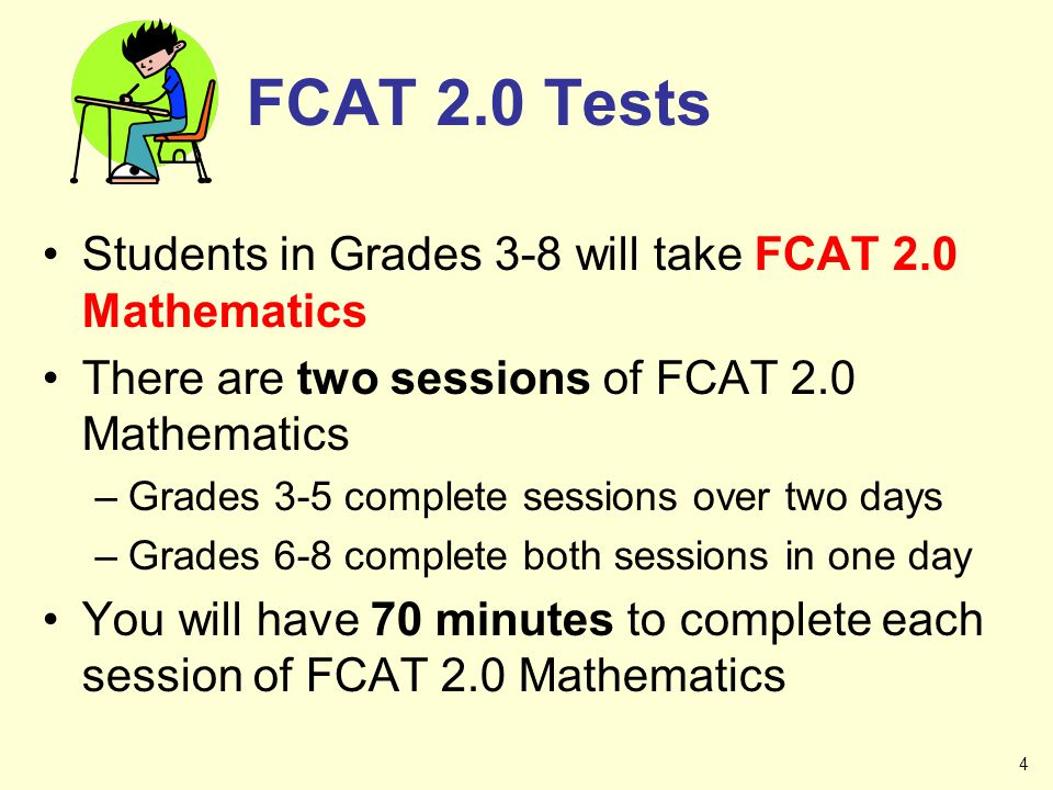 FCAT 2.0 Tests Students in Grades 3-8 will take FCAT 2.0 Mathematics