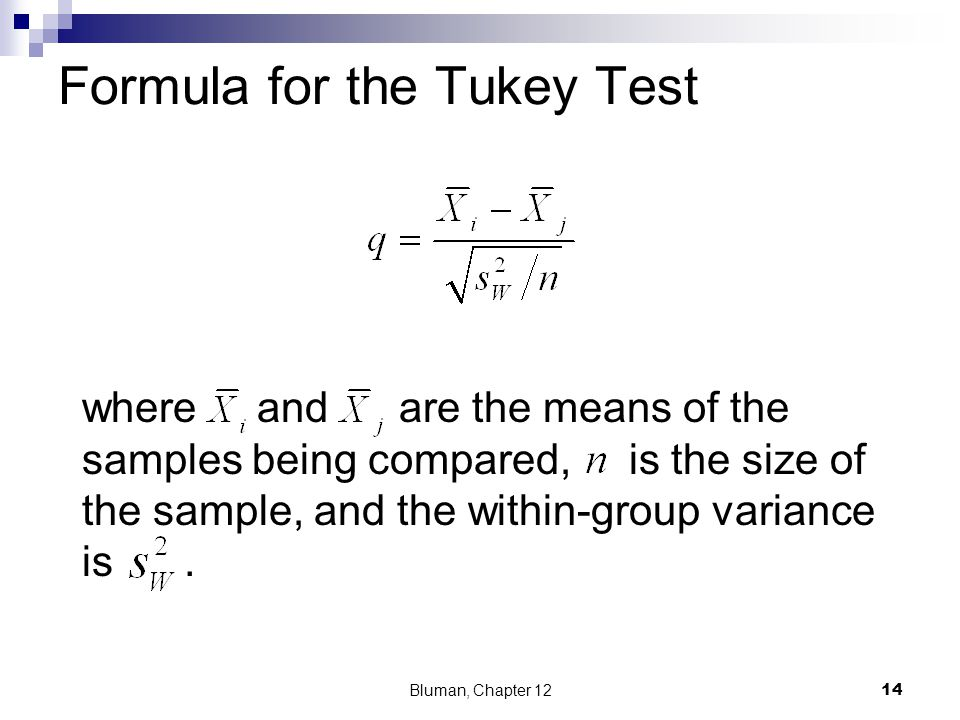 Formula for the Tukey Test