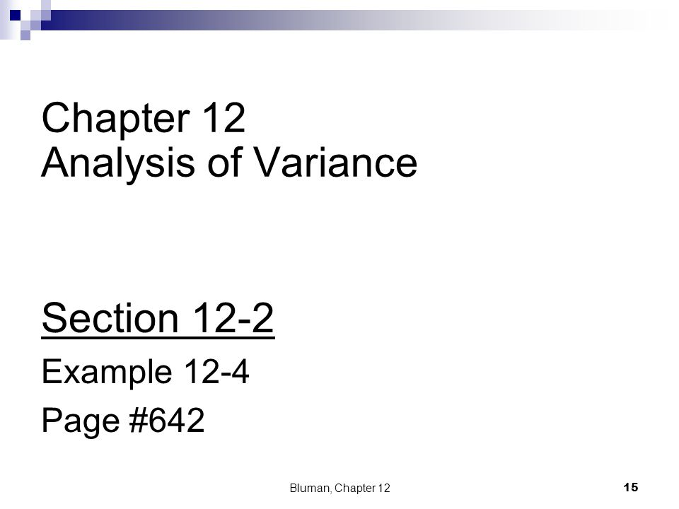 Chapter 12 Analysis of Variance