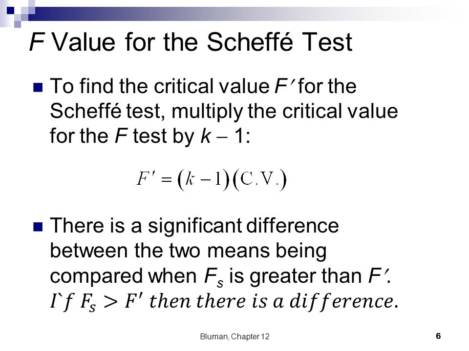F Value for the Scheffé Test