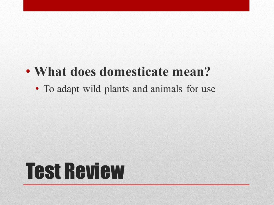 Test Review What does domesticate mean
