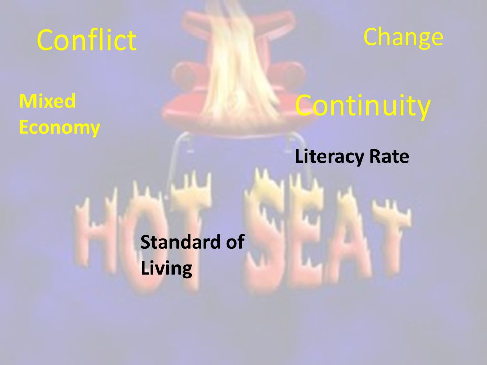 Conflict Continuity Change Mixed Economy Literacy Rate