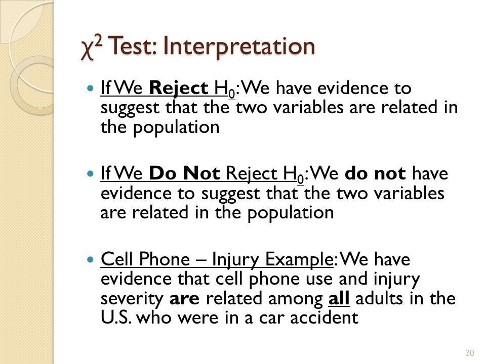 χ2 Test: Interpretation