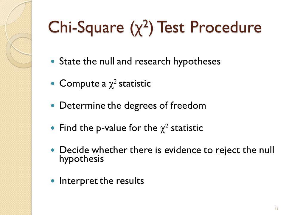 Chi-Square (χ2) Test Procedure
