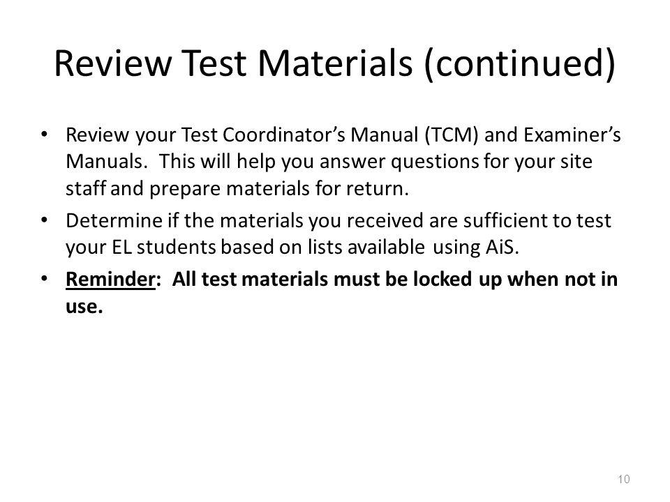 Review Test Materials (continued)