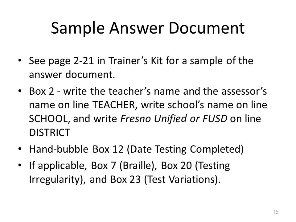 Sample Answer Document