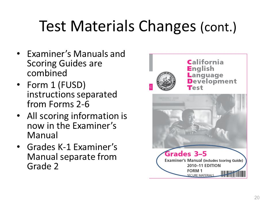 Test Materials Changes (cont.)