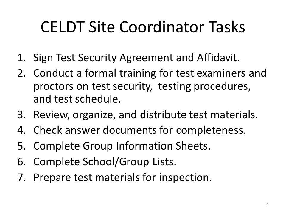 CELDT Site Coordinator Tasks
