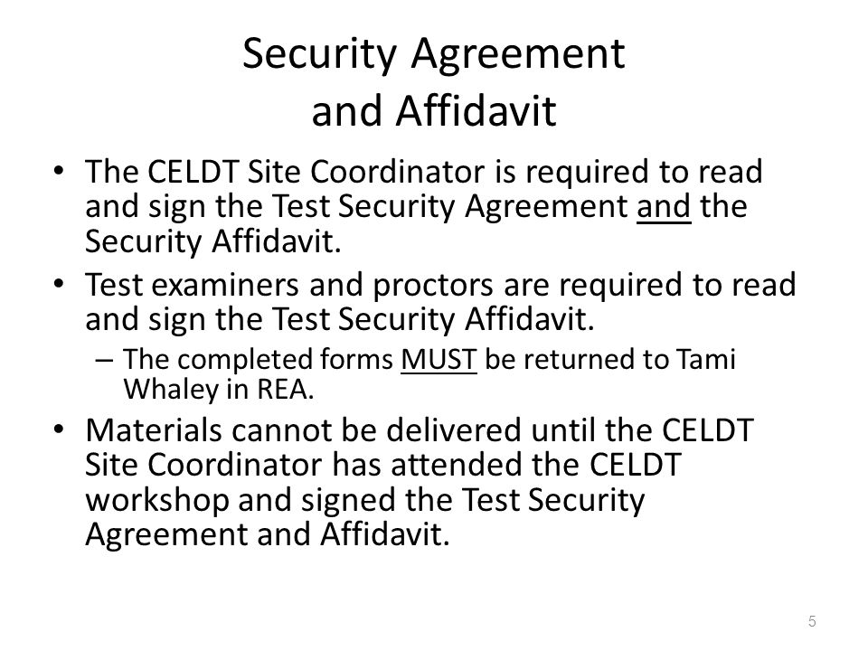 Security Agreement and Affidavit