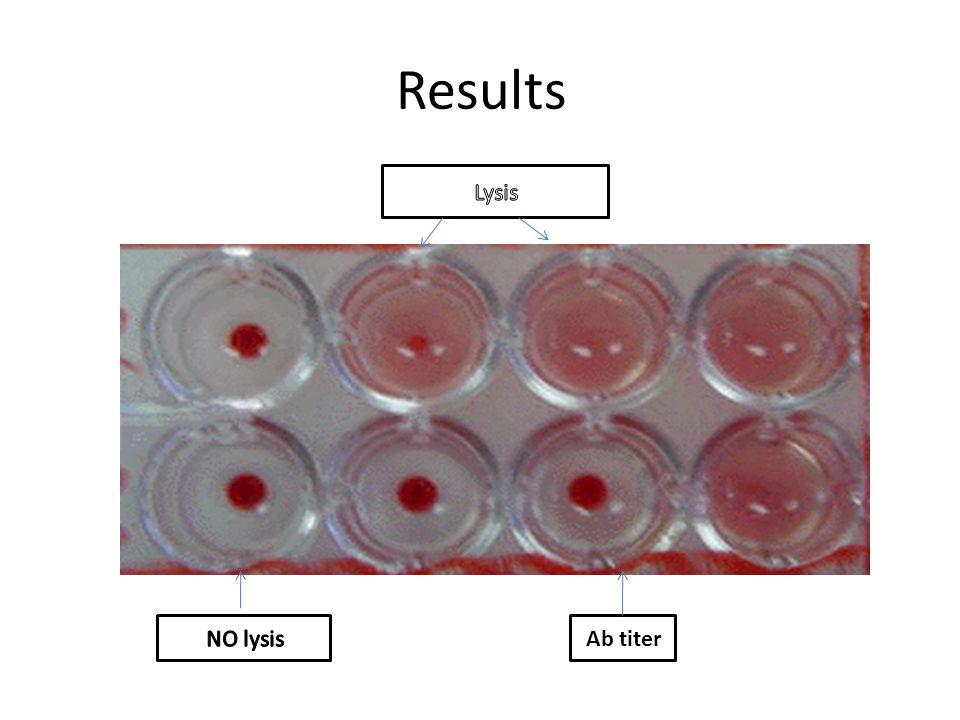Results Lysis NO lysis Ab titer