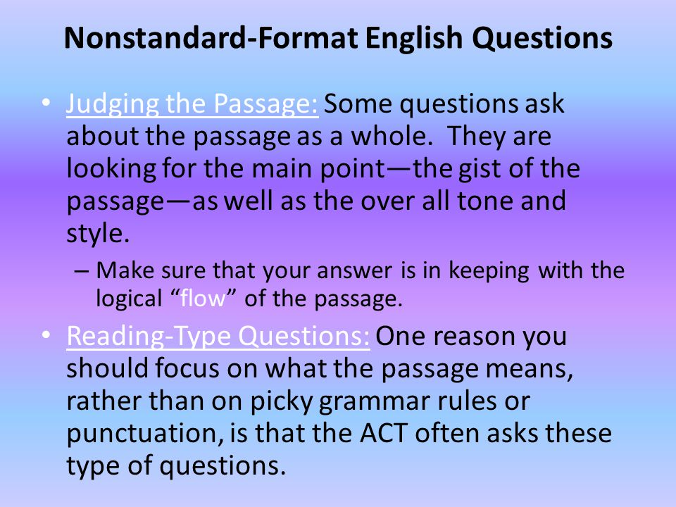 Nonstandard-Format English Questions
