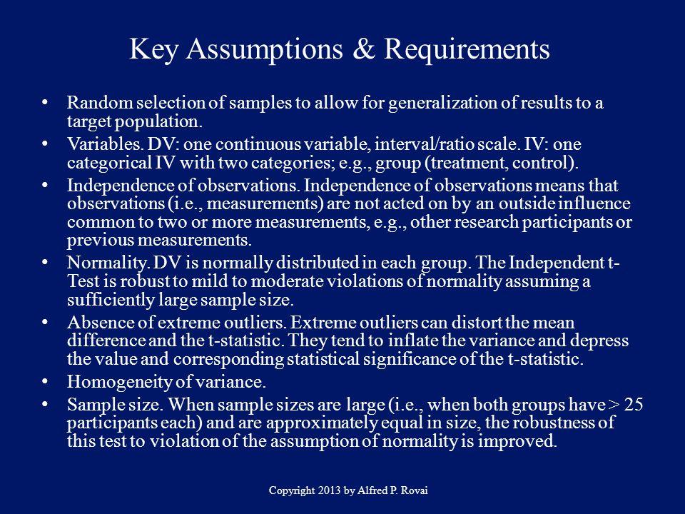 Key Assumptions & Requirements
