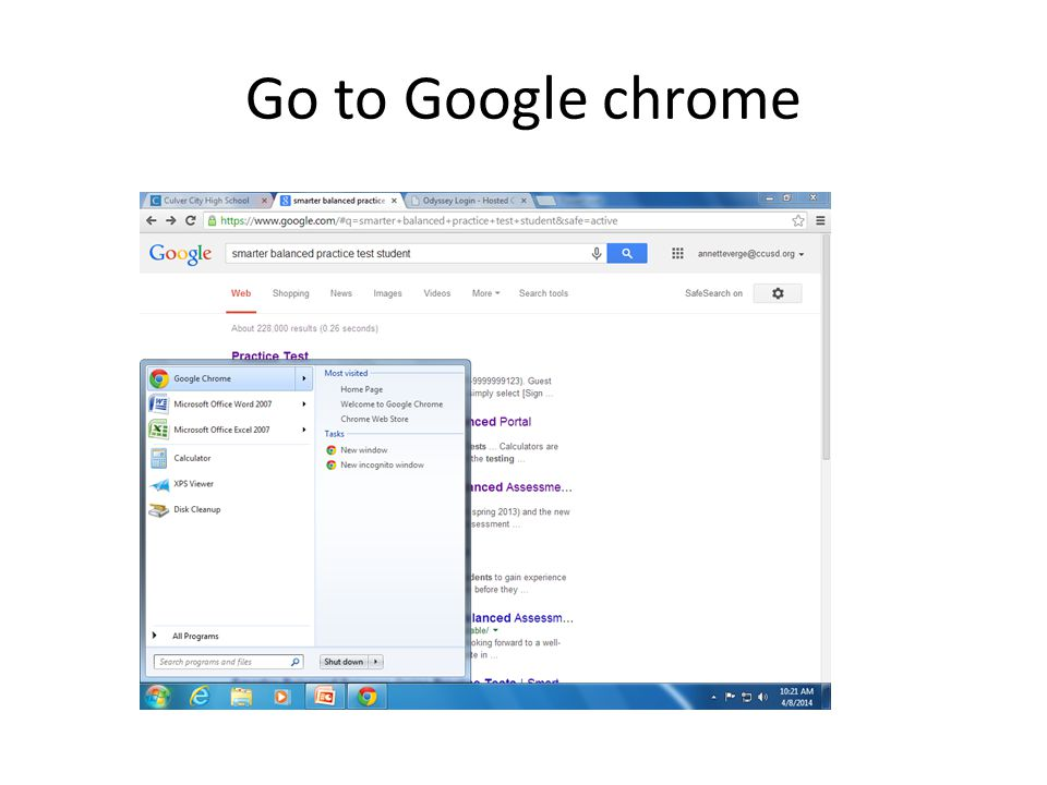 Go to Google chrome