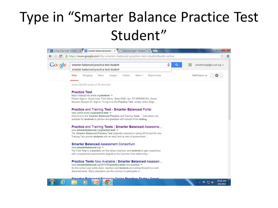 Type in Smarter Balance Practice Test Student