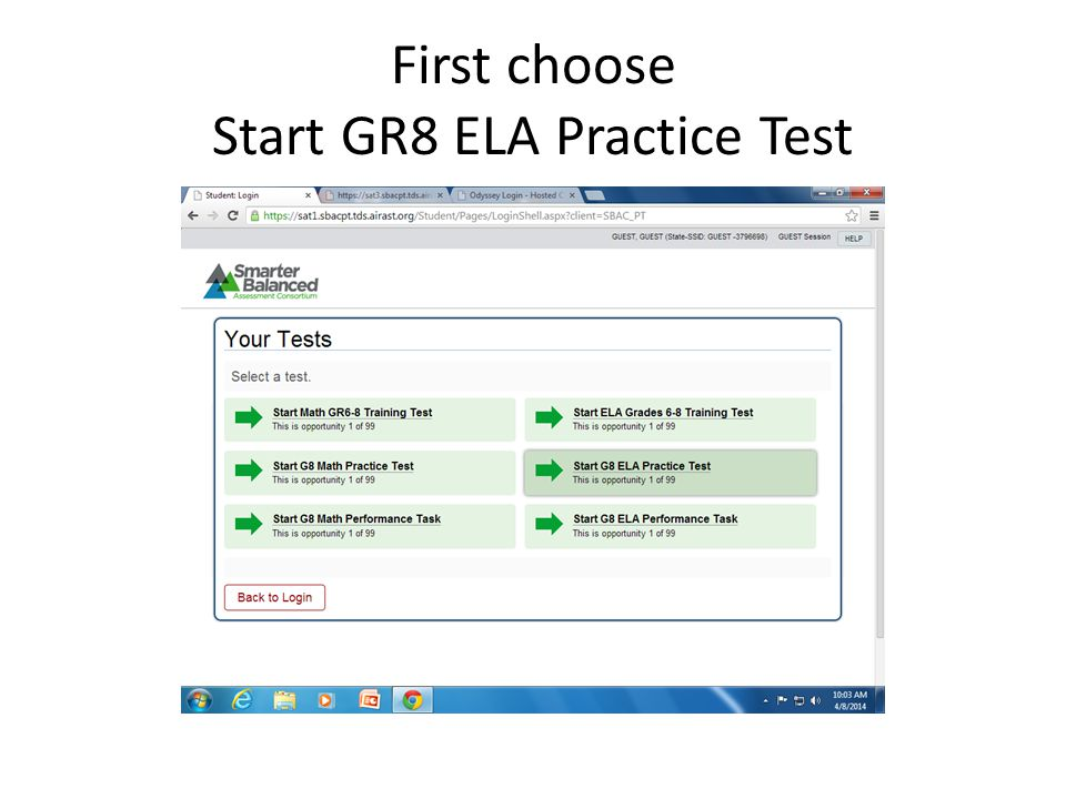 First choose Start GR8 ELA Practice Test