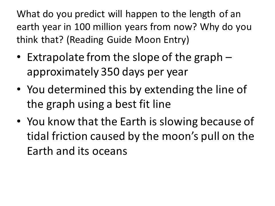What do you predict will happen to the length of an earth year in 100 million years from now Why do you think that (Reading Guide Moon Entry)