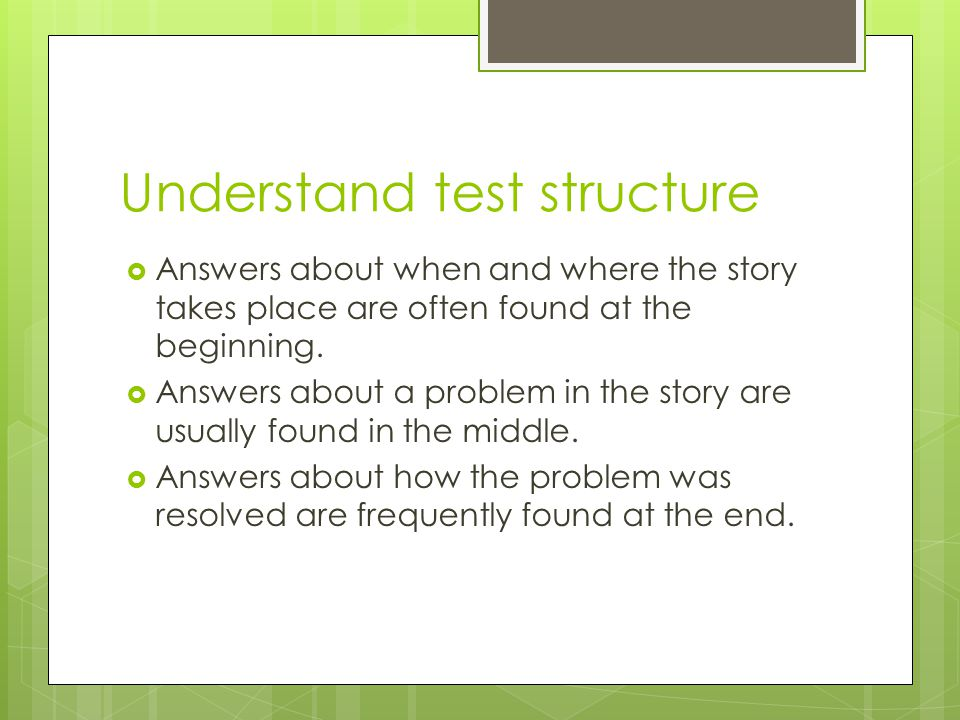 Understand test structure