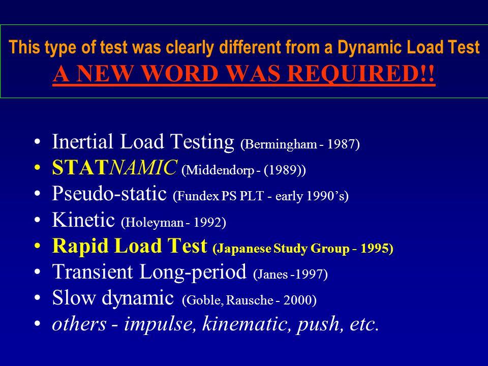 Inertial Load Testing (Bermingham - 1987)