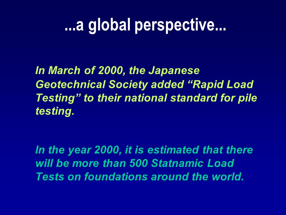 ...a global perspective...