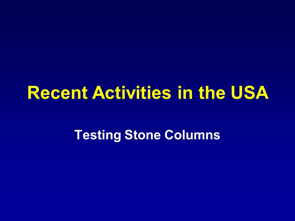 Recent Activities in the USA