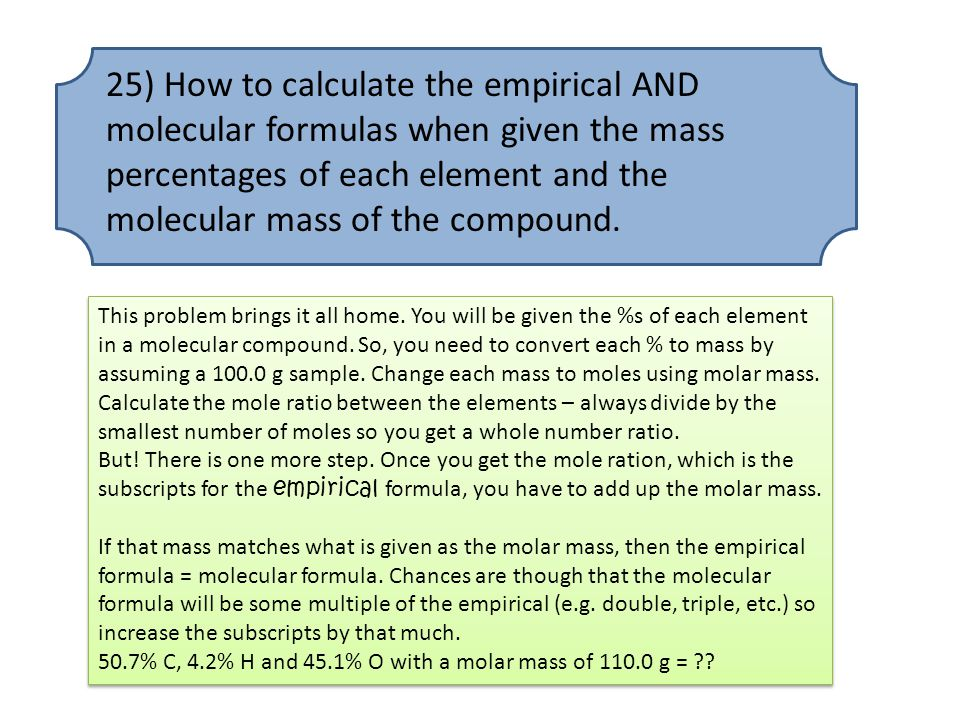 25) How to calculate the empirical AND molecular formulas when given the mass percentages of each element and the molecular mass of the compound.