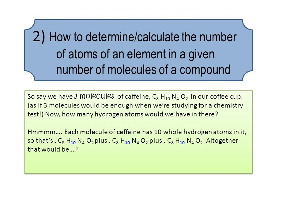 2) How to determine/calculate the number of atoms of an element in a given number of molecules of a compound