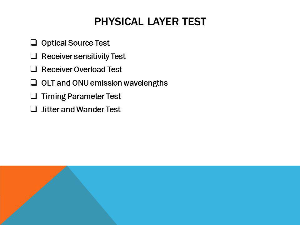 Physical Layer test Optical Source Test Receiver sensitivity Test