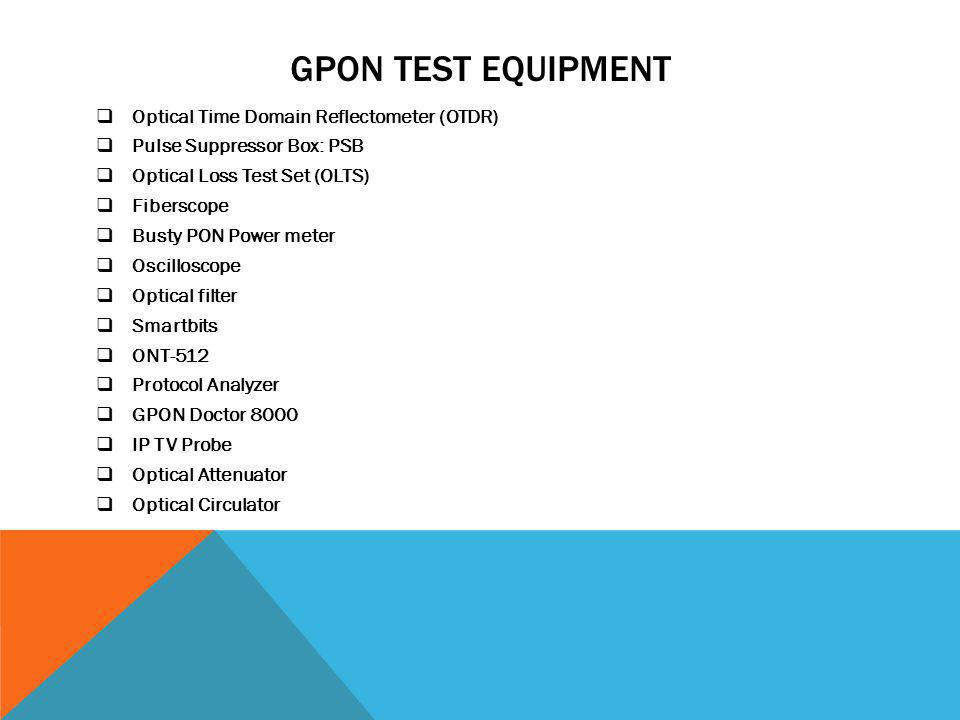 GPON Test Equipment Optical Time Domain Reflectometer (OTDR)