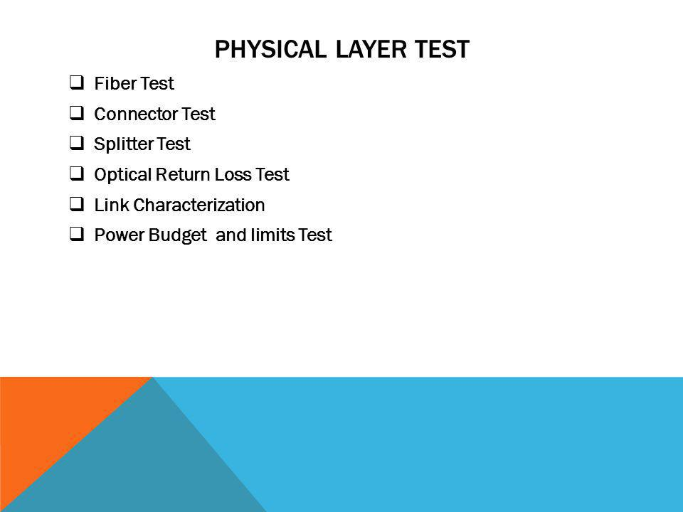 Physical Layer test Fiber Test Connector Test Splitter Test