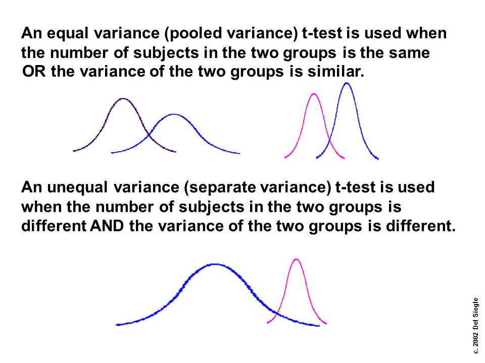 An equal variance (pooled variance) t-test is used when the number of subjects in the two groups is the same
