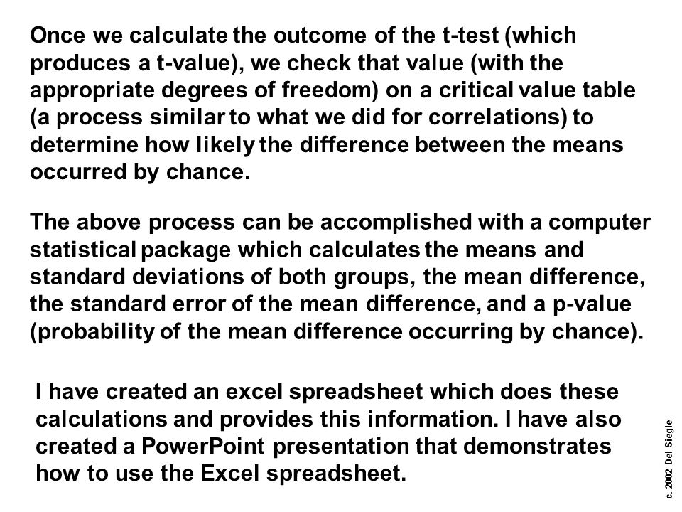 Once we calculate the outcome of the t-test (which produces a t-value), we check that value (with the appropriate degrees of freedom) on a critical value table (a process similar to what we did for correlations) to determine how likely the difference between the means occurred by chance.
