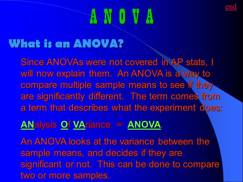 A N O V A end. What is an ANOVA
