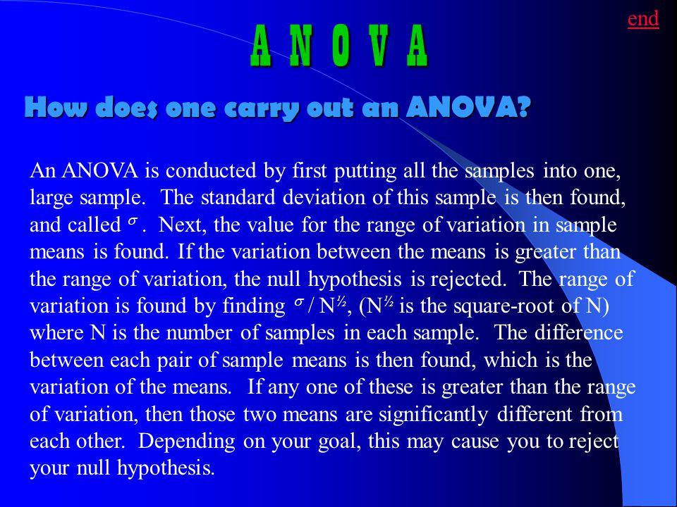 A N O V A How does one carry out an ANOVA end