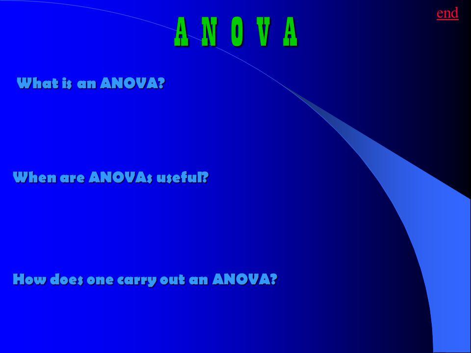 A N O V A end What is an ANOVA When are ANOVAs useful