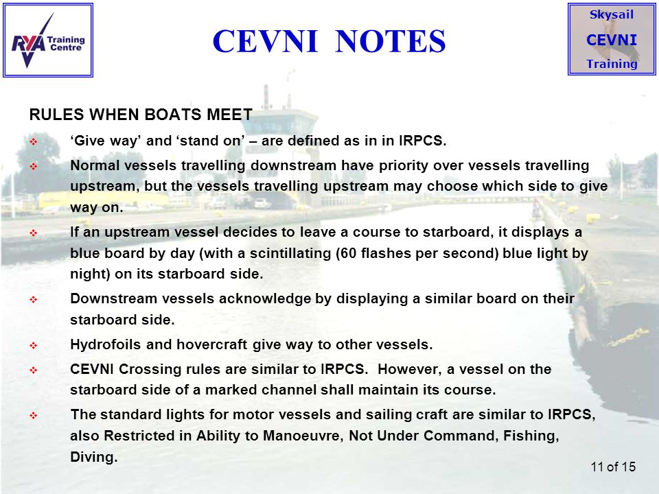 CEVNI NOTES RULES WHEN BOATS MEET