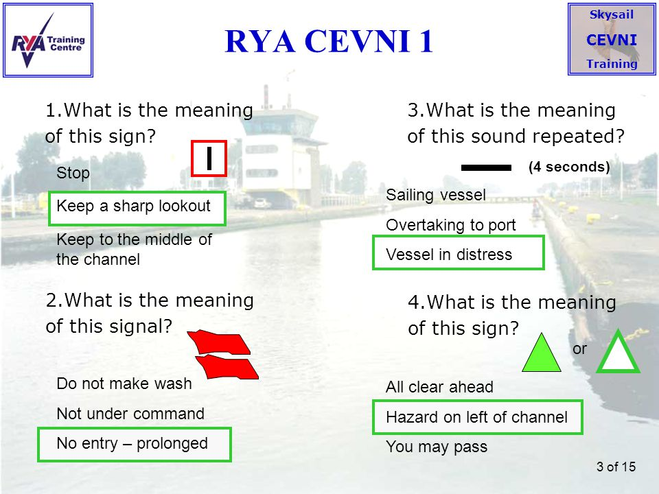 RYA CEVNI 1 1.What is the meaning of this sign