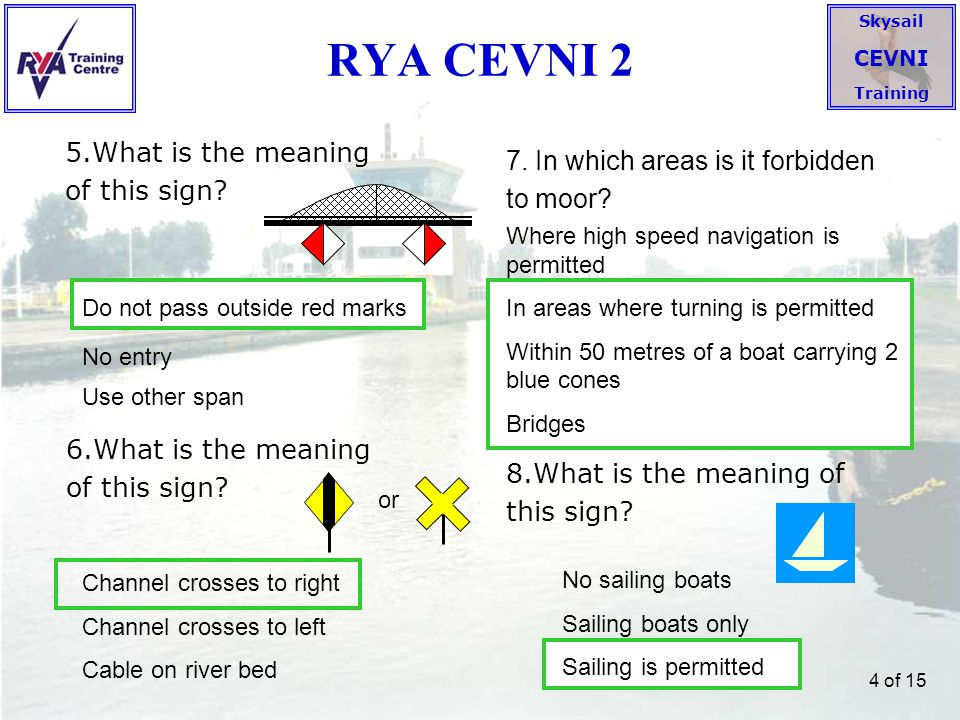 RYA CEVNI 2 5.What is the meaning of this sign