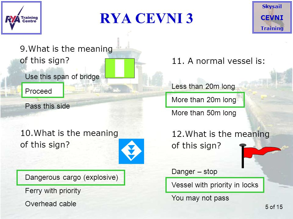 RYA CEVNI 3 9.What is the meaning of this sign