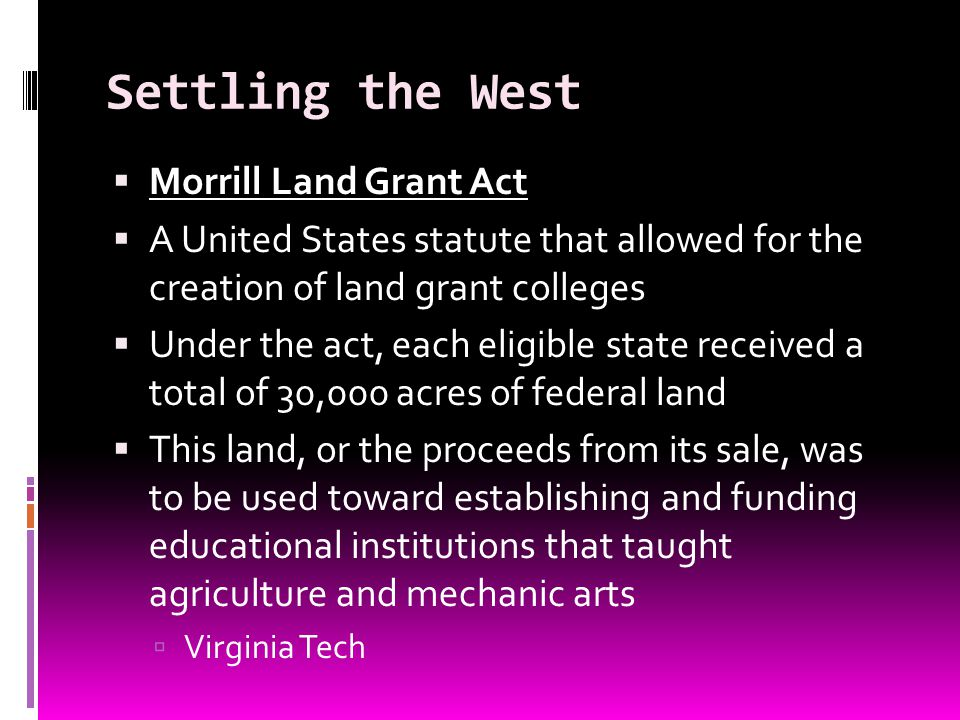 Settling the West Morrill Land Grant Act