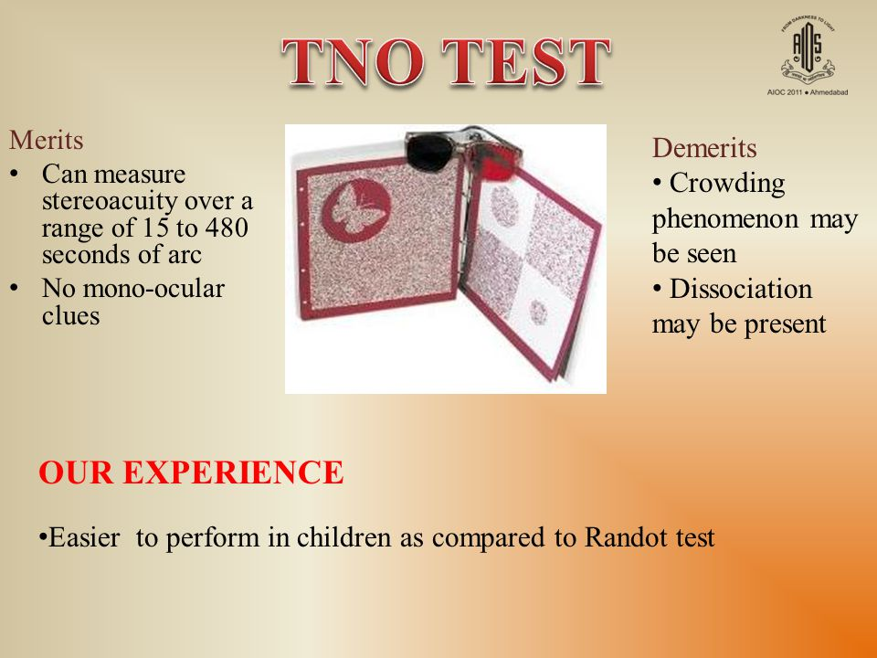 TNO TEST OUR EXPERIENCE Demerits Crowding phenomenon may be seen