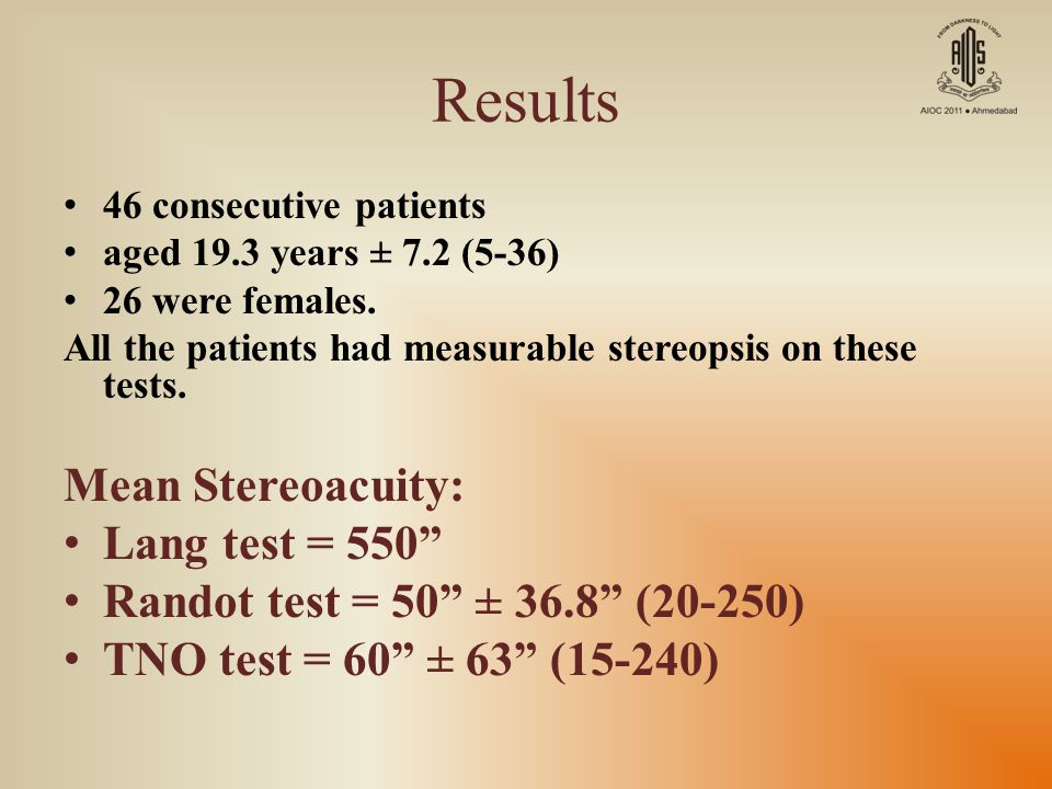 Results Mean Stereoacuity: Lang test = 550